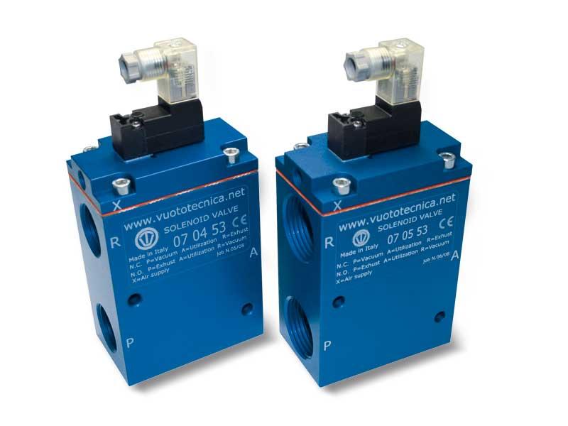 3-Wege-Vakuum-Magnetventile, Servogesteuert, mit Bistabilem Impulsmagnetventil und mit geringer Absorption Elektrischer Spule