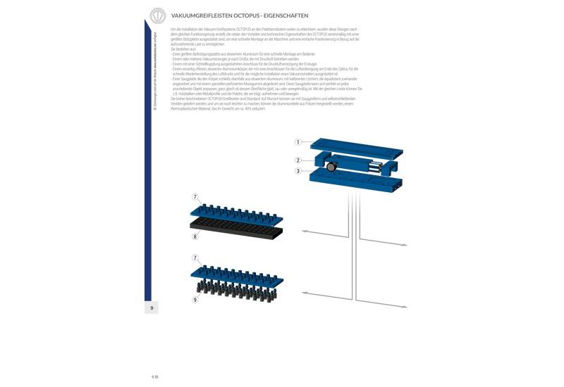 Vakuumgreifleisten OCTOPUS – Eigenschaften