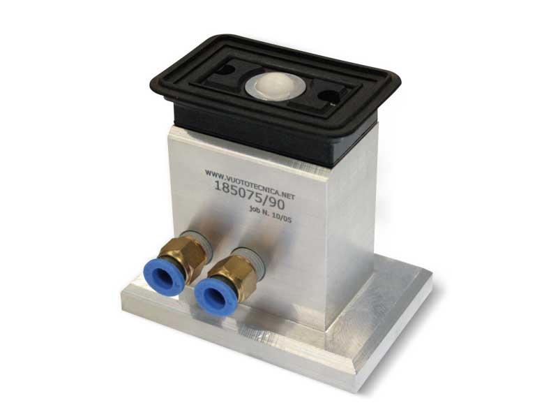 Rechteckige sauggreifer mit kugelverschluss und selbstverriegelnder halterung, für glas